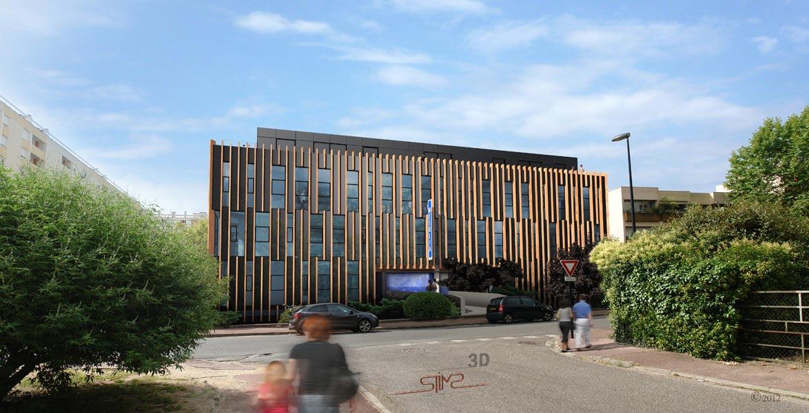 bureaux mesolia vue de la facade de l entr e bordeaux pour arsene henry triaud stims. Black Bedroom Furniture Sets. Home Design Ideas